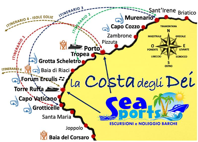 Mappa Escursioni in barca a Tropea, Capo Vaticano